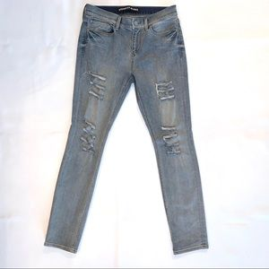 Express Super Skinny Mid Rise Distressed Jeans
